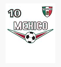Mexico Soccer T shirt with Number 10 Photographic Print