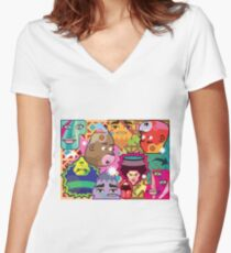 Abstract Faces Women's Fitted V-Neck T-Shirt