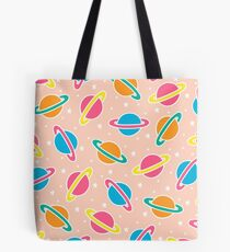Pink Planets Pattern Tote Bag