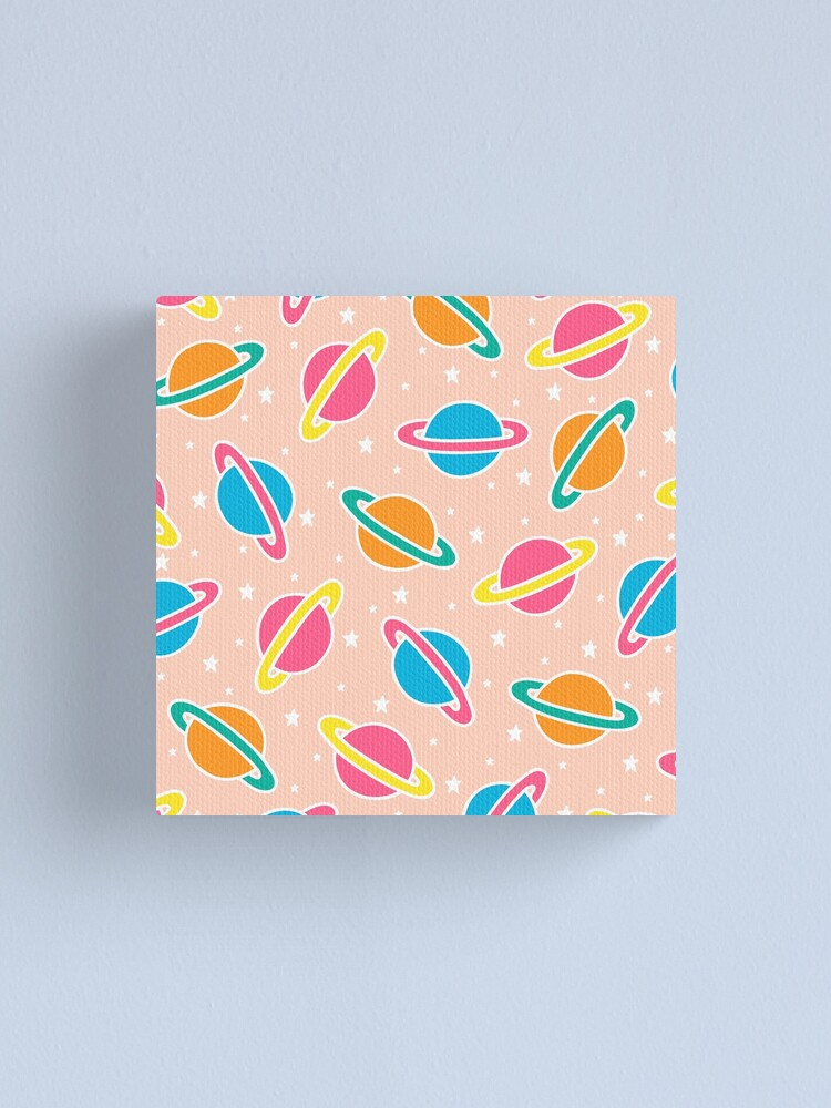 Alternate view of Pink Planets Pattern Canvas Print