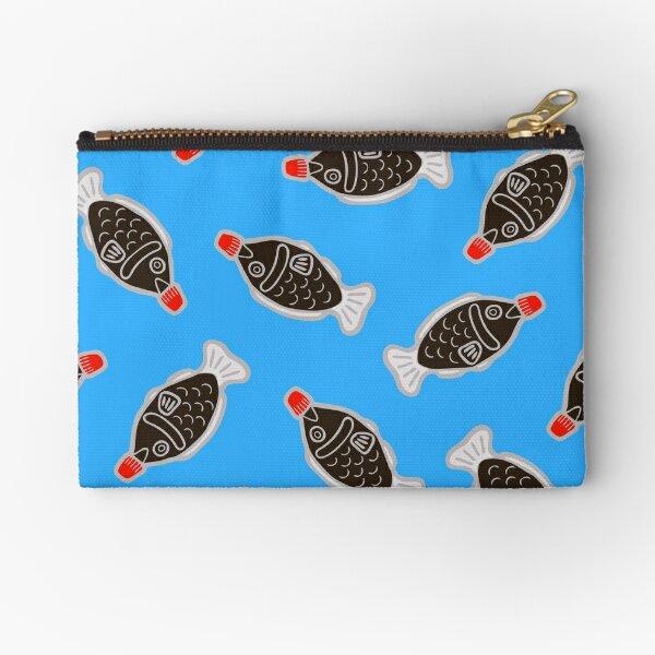 Sushi Soy Fish Pattern in Blue Zipper Pouch