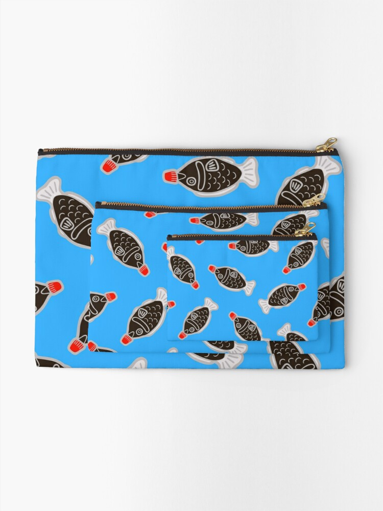 Alternate view of Sushi Soy Fish Pattern in Blue Zipper Pouch