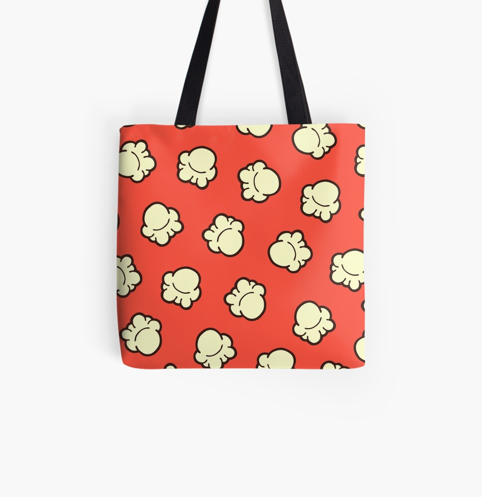 Popcorn Pattern All Over Print Tote Bag