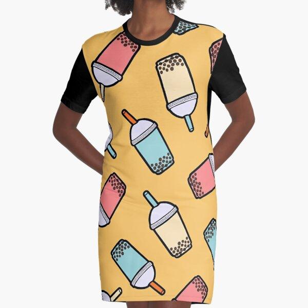 Bubble Tea Pattern Graphic T-Shirt Dress