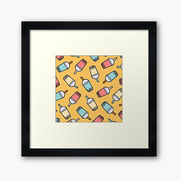 Bubble Tea Pattern Framed Art Print