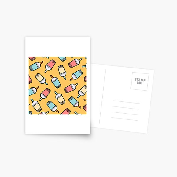 Bubble Tea Pattern Postcard