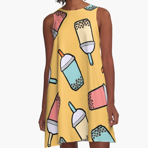 Bubble Tea Pattern A-Line Dress