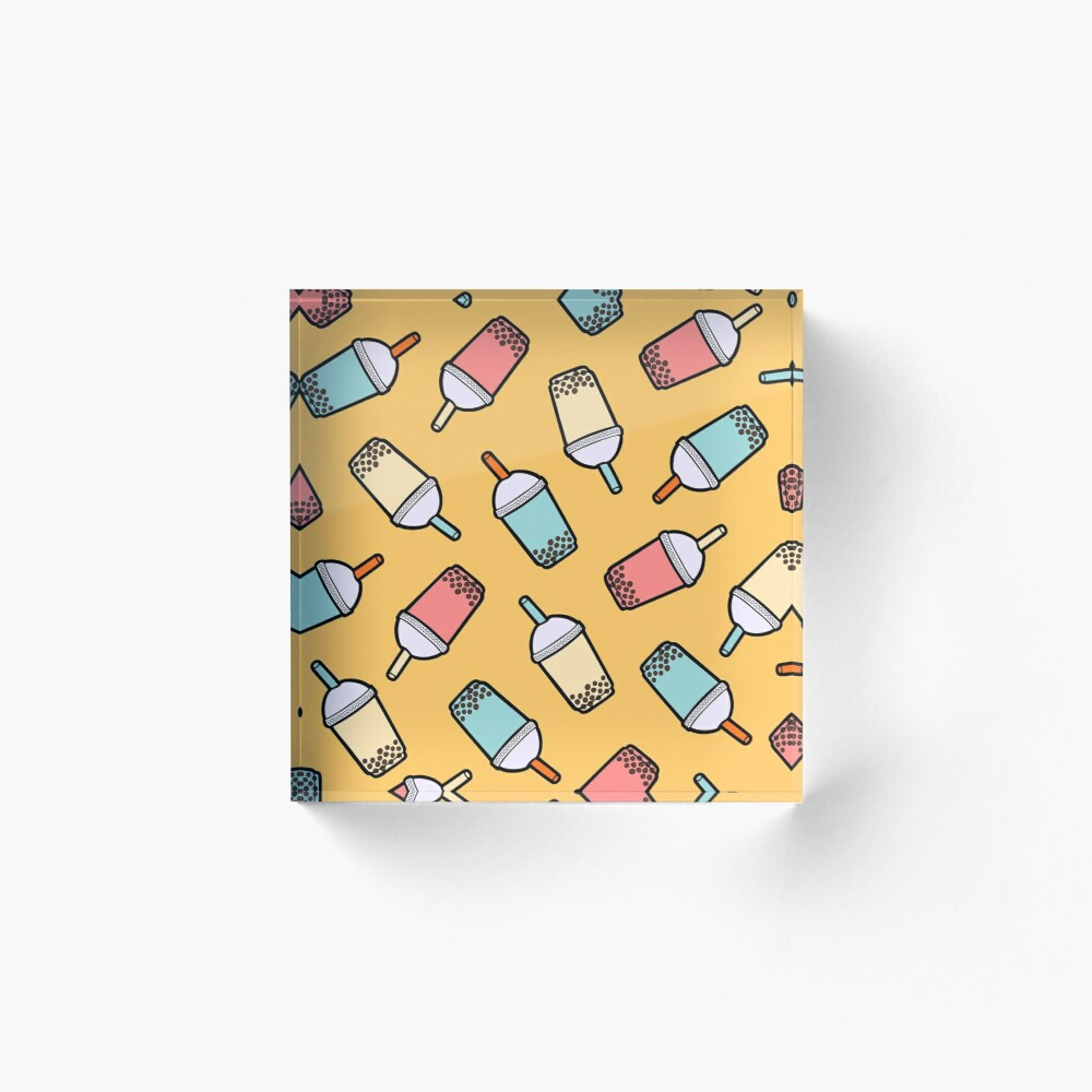 Bubble Tea Pattern Acrylic Block