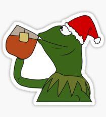 Christmas Kermit Inspired Santa Sipping Tea Meme Sticker