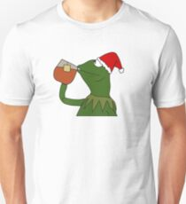 Christmas Kermit Inspired Santa Sipping Tea Meme Unisex T-Shirt