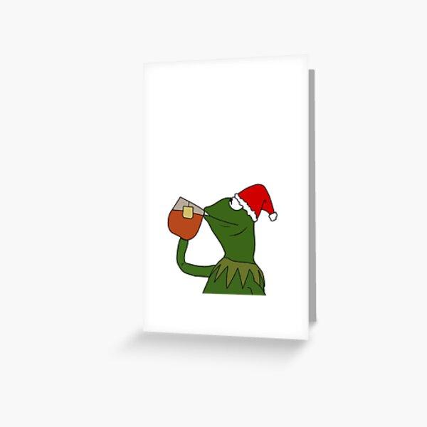 Christmas Santa Sipping Tea Meme Greeting Card