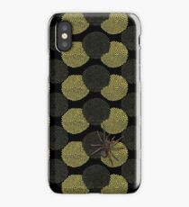 Spider on yellow pompom flower design iPhone Case/Skin