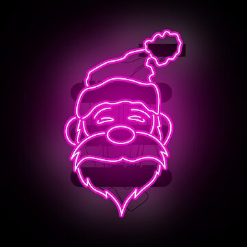 Neon Pink Santa Claus - Merry Christmas by Wavelordsunited