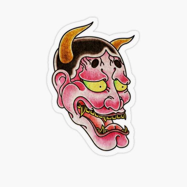 Japanese Hannya Noh Devil Mask Transparent Sticker