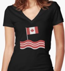Funny Canadian Bacon Flag Women's Fitted V-Neck T-Shirt