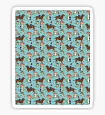 Gnome and Dachshund in Mushroom Land, Turquoise Blue Background Sticker