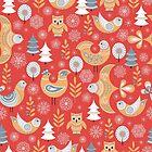 Nahtloses Muster des Winters mit Vögeln, Bäume, Schneeflocken. Der skandinavische Stil. von Skaska