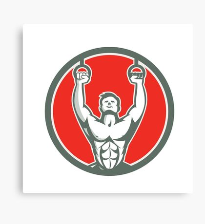 Kipping Muscle Up Cross-fit Circle Retro Canvas Print