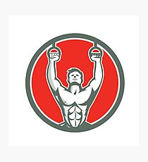 Kipping Muscle Up Cross-fit Circle Retro Photographic Print