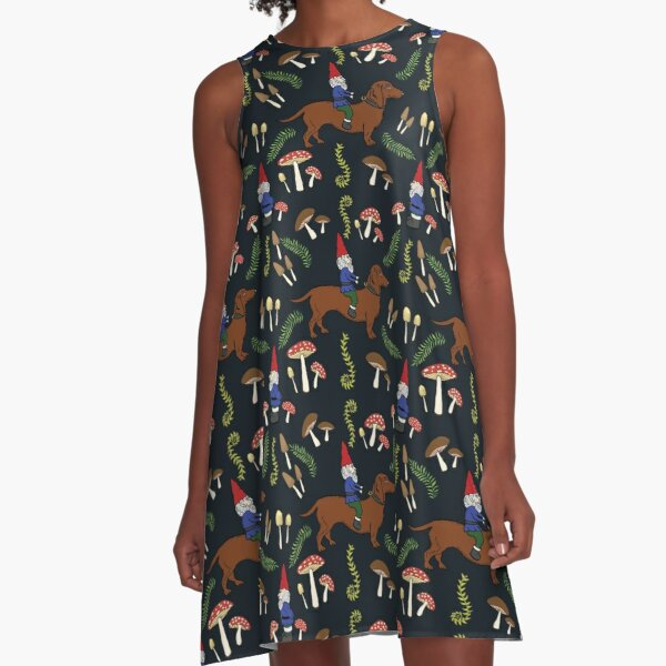 Gnome and Dachshund in the Mushroom Forest, Black Background A-Line Dress