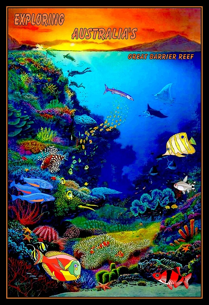 """QUEENSLAND AUSTRALIA"" Great Barrier Reef Travel Print by posterbobs"