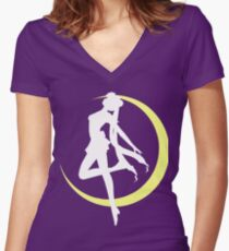 Sailor Moon logo clean Women's Fitted V-Neck T-Shirt