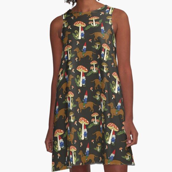 Gnome and Dachshund in Mushroom Land, Dark Brown Background A-Line Dress