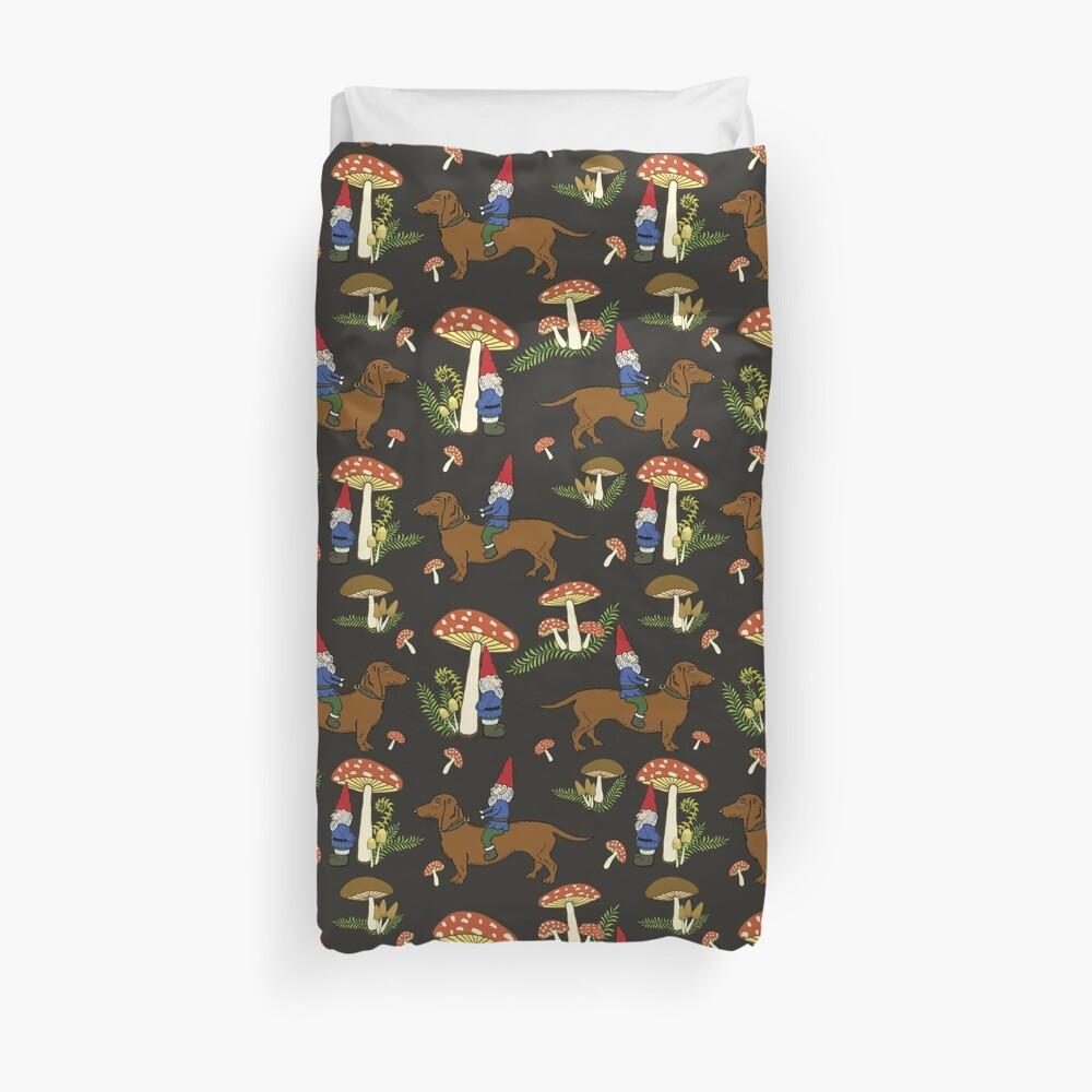 Gnome and Dachshund in Mushroom Land, Dark Brown Background Duvet Cover