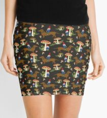 Gnome and Dachshund in Mushroom Land, Dark Brown Background Mini Skirt
