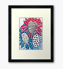 Big Bold Blue and Red Flowers Framed Print