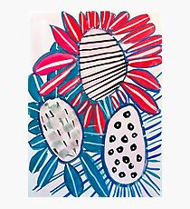 Big Bold Blue and Red Flowers Photographic Print