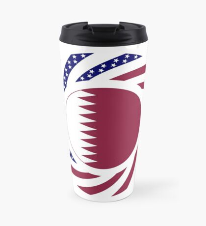 Qatari American Multinational Patriot Flag Series Travel Mug