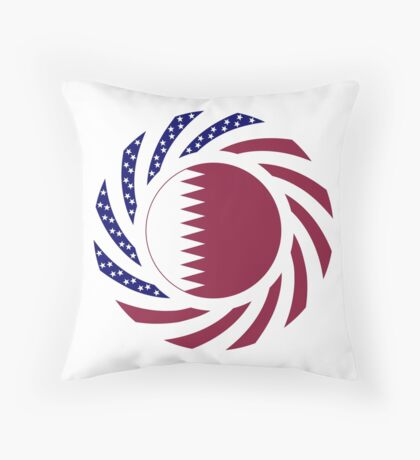 Qatari American Multinational Patriot Flag Series Throw Pillow