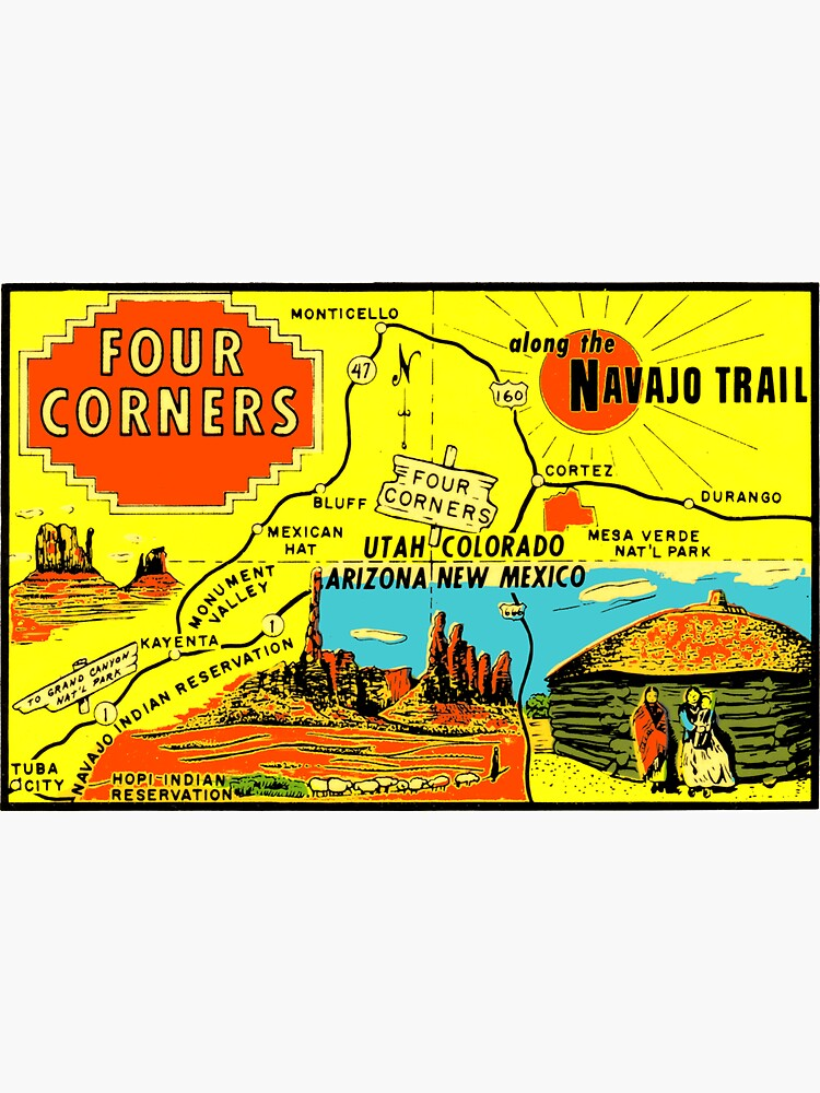 Four Corners Monument Vintage Travel Decal by hilda74