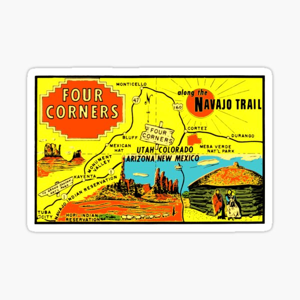 Four Corners Monument Vintage Travel Decal Sticker