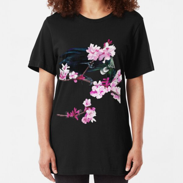 Tui Feeding on Cherry Blossoms Slim Fit T-Shirt