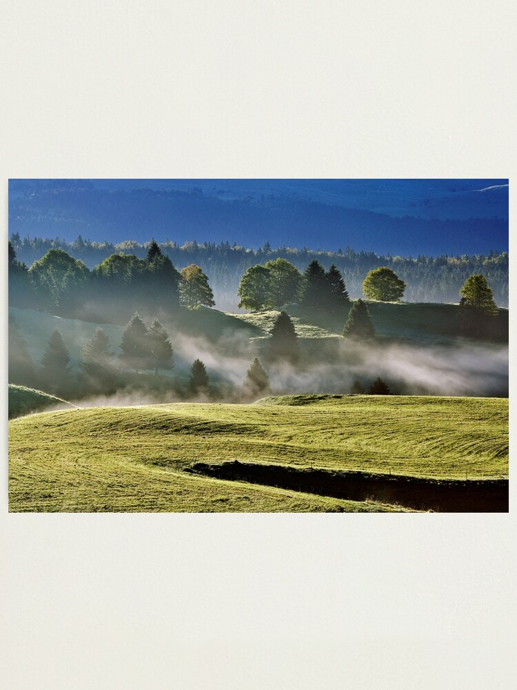 Alternate view of Mist and sun on Jura landscape Photographic Print