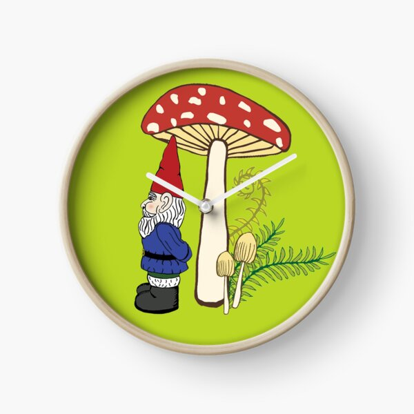 Gnome and Toadstool, Chartreuse  Clock