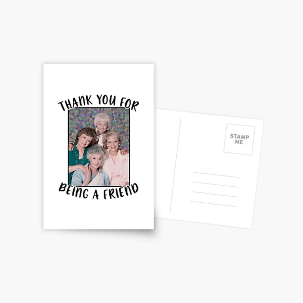 Goldene Mädchen inspiriert Danke, ein Freund zu sein Postkarte