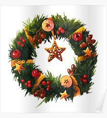 Chistmas Wreath with yellow ribbons and golden star Poster