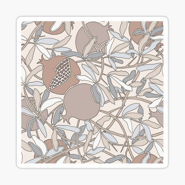 Winter Neutral Hues - Pomegranates and Branches Sticker
