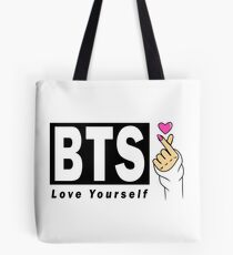 BTS Love Yourself Heart Hand Sign Tote Bag
