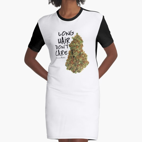 Long Hair Don't Care Graphic T-Shirt Dress