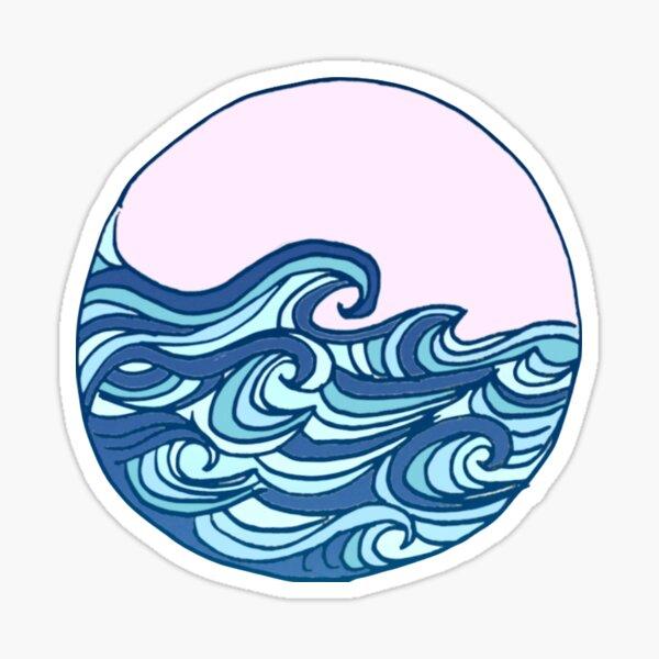 Pink Ocean Waves Design Sticker