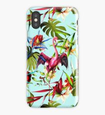 Tropical leaves with two flamingo around on light blue iPhone Case/Skin