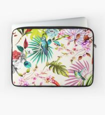Humming bird, flowers and leaves on white tropical background Laptop Sleeve