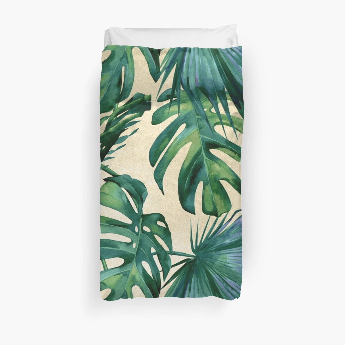 classic green tropical monstera jungle palm leaf print on canvas