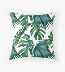 Classic Green Tropical Monstera Leaf Jungle Palm Pattern Throw Pillow