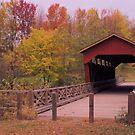 A historic convered bridge at dusk by Ed Michalski