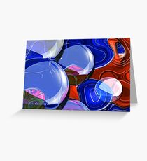 Drops on blue and red work  Greeting Card
